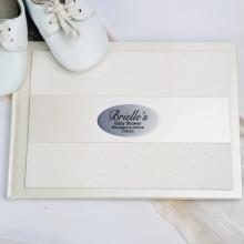 Baby Shower Guest Book Cream Glitter