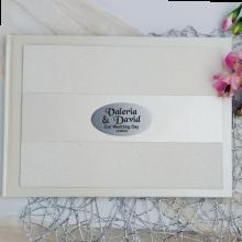 Wedding Guest Book Album Cream Glitter Band