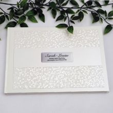 80th Birthday Guest Book Keepsake Album - Cream Pebble