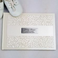 Christening Guest Book Keepsake  Album - Cream Pebble
