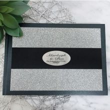 Engagement Guest Book Album Silver Glitter Band