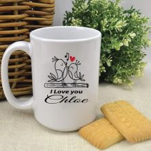Personalised Love Bird Valentines Coffee Mug