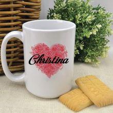 Personalised Floral Heart Coffee Mug