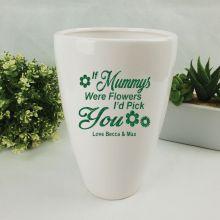 Mum White Ceramic Vase with Quote