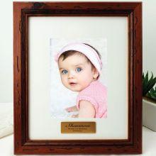 1st Birthday Personalised Photo Frame 5x7 Mahogany Wood