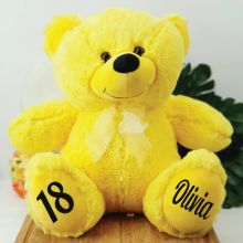 Personalised 18th Birthday Teddy Bear 40cm Plush  Yellow