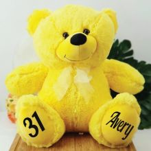 Personalised Birthday Teddy Bear 40cm Plush  Yellow