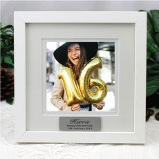 16th Birthday Instagram Photo Frame 5x5 White/Black Wood