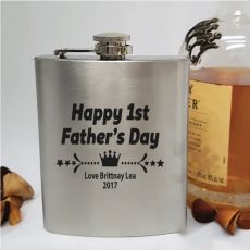 First Fathers Day Engraved Personalised Silver Hip Flask