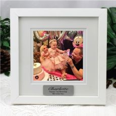 1st Birthday Instagram Photo Frame 5x5 White/Black Wood