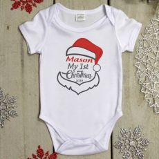Personalised Christmas Baby Bodysuit - Santa Hat