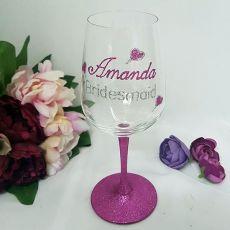 Bridesmaid Personalised Wine Glass 450ml Hand Painted Glitter