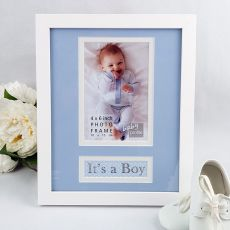 It's a Boy Photo Frame 4x6 White Wood