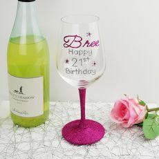 21st Birthday Personalised Wine Glass  Hand Painted Glittered