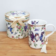 Ceramic Coffee / Tea Cup in Gift Box - Owls