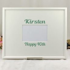 40th Birthday Signature Frame Black / White Glitter 4x6 Photo