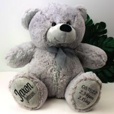 Baby Birth Details Teddy Bear 40cm Plush Grey