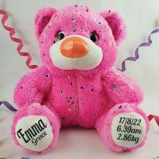 Baby Birth Details Teddy Bear 40cm Hollywood Pink