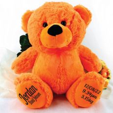 Baby Birth Details Teddy Bear 40cm Plush Orange