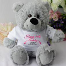 Personalised 60th Birthday Teddy Bear - Grey