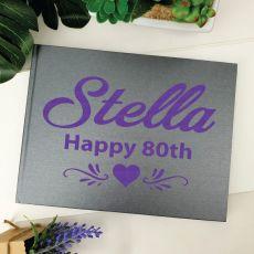 80th Birthday Guest Book Album - A4 Grey