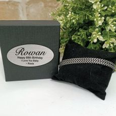 80th Stainless Steel Chain Bracelet In Personalised Box