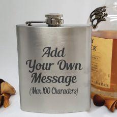 Custom Engraved Silver Flask 7oz - Your Design