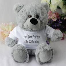 Custom Text T-Shirt Bear - Grey