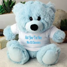 Custom Text T-Shirt Bear - Light Blue
