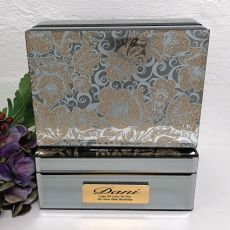 50th Birthday Jewellery Box Mirrored Golden Glitz