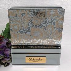 Birthday Jewellery Box Mirrored Golden Glitz