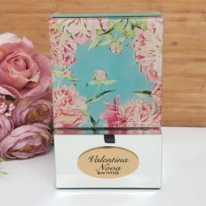 Baby Personalised Mirrored Trinket Box- Peony