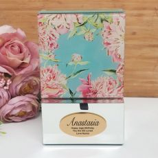 Personalised Birthday Mirrored Trinket Box- Peony
