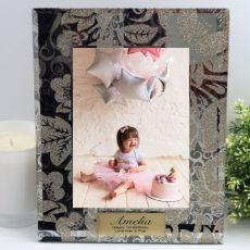 1st Birthday Personalised Frame 5x7 Photo Glass Golden Glitz