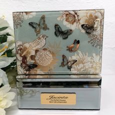Vintage Gold Glass Baby Trinket Box
