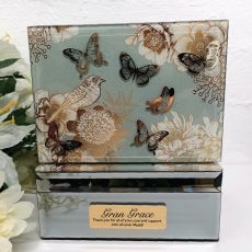 Grandma Vintage Gold Glass Trinket Box
