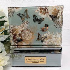 Personalised Vintage Gold Glass Trinket Box