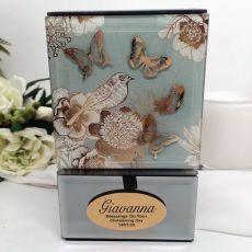 Christening Vintage Gold Glass Trinket Box