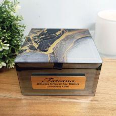 Baptism Personalised Black & Gold Glass Trinket Box
