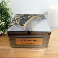 Christening Personalised Black & Gold Glass Trinket Box