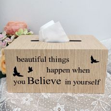 Woodcraft Tissue Box Cover - Believe