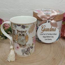 Grandma Mug with Personalised Gift Box - Owl