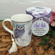 Birthday Mug with Personalised Gift Box - Blue Owl