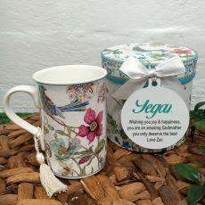 Godmother Mug with Personalised Gift Box - Blue Bird