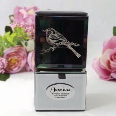 Personalised Mini Mirrored Trinket Box - Bird