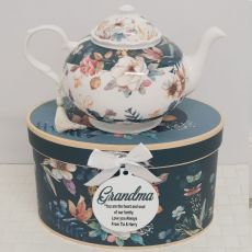 Teapot in Personalised Grandma Gift Box - Bouquet