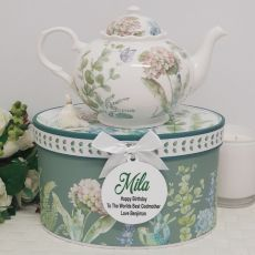 Teapot in Personalised Godmother Gift Box - Hydrangea