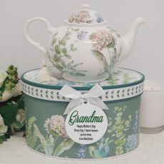 Teapot in Personalised Grandma Gift Box - Hydrangea