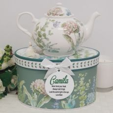 Teapot in Personalised Gift Box - Hydrangea