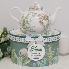 Teapot in Personalised Nana Gift Box - Hydrangea